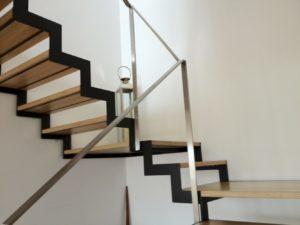 escalier metal bois